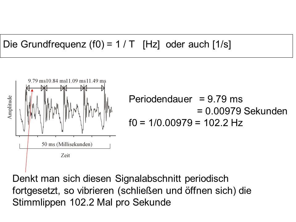 Die Grundfrequenz (f0) = 1 / T [Hz] oder auch [1/s]